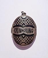 Erinnerung - emlékeztető feliratú antik tűzzománcos medál