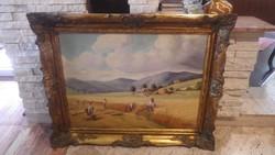 Jelzett sok alakos olajfestmény : Aratók , blondel képkeret 79x99 cm