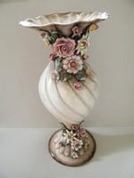 Nagy méretű rózsás nápolyi (Capodimonte) kerámia váza