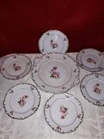 Zsolnay virágmintás süteményes készlet