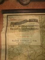 Magyarország és Ausztria valamint Bosznia és Herczegovina Vasúti és Gőzhajózási térképe 1906