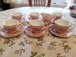 Angol, jelenetes teáskészlet, 6 személyes, nem használt, nagyon szép!