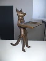 Bronz róka szobor névjegykártyatartó