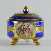 0W636 Régi jelenetes Altwien porcelán bonbonier