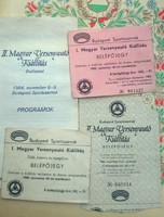Régi belépőjegyek,I. - II. magyar versenyautó kiállitás 1985,1986,plusz 1 műsorfüzet, vintage,retro