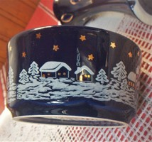 Karácsonyi tálka, ajándék vázával, sötétkék mind a kettő