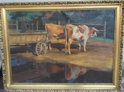 Pap Emil  (1844-?), olaj vászon  festmény. Ökrök, ökrös szekér