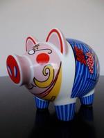 Extra, különleges Ritzenhoff porcelán malac persely, Tim Davies tervezésű designer  darab