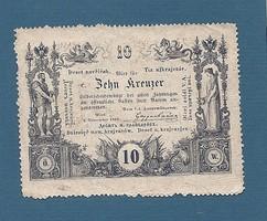 10 Krajcár, Kreuzer 1860 Perforált ( Gezähmt ) aUNC Ingyen posta