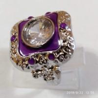 Vintage 925-s töltött ezüst (SF) gyűrű, fehér CZ kristállyal és lila tűzzománccal