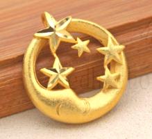 18K töltött arany (GF) Hold és csillagok medál