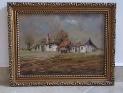 Festmény, olaj, fa, tájkép, utcakép