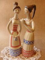 Hollóházi porcelán Art Deco pletykás lányok