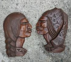 Népi házaspár - Faragott dombormű férfi nő