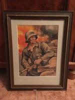Német katona (akvarell kép )
