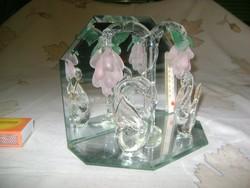 Retro tükrös, üveg hattyús asztali hőmérő