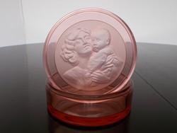 Gyönyörű Art deco rózsaszín üveg bonbonier