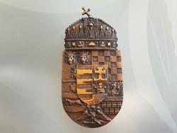 Magyar címer öntött fém fali dísz 23,5cm