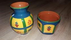 Hódmezővásárhelyi váza+kaspó