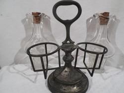 Antik - ezüstözött (ESETLEG ezüst) - olaj + ecet tartó - rendkívül vastag hibátlan üvegek 17 x 16 x