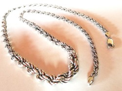 Vastag csavart ezüst nyaklánc