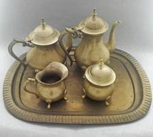 Sárgaréz teás- kávéskészlet tálcával: kanna, teáskanna, cukortartó, tejkiöntő