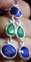 925 ezüst fülbevaló smaragddal és zafírral