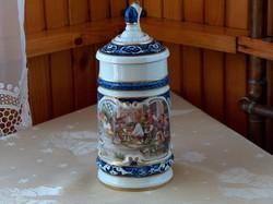 Német porcelán fedeles kupa, Unterweissbach, hibátlan, gyönyörű