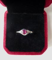 Antik 14k  gyűrű valódi 0,5 ct rubinnal, gyémánttal