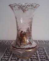 Kézzel festett, századfordulós üveg váza