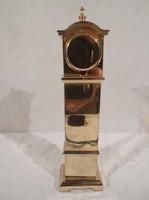 23 dkg - tömör sárgaréz - miniatűr - óra - 13 x 3,5 x 2,5 cm - óra átmérő 2 cm  működik