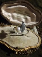 Ezüst gingko biloba gyűrű valódi gyönggyel  ag925