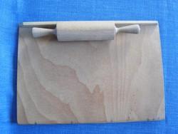 Retró fa játék sodrófa és gyúrótábla