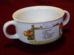 Német porcelán leveses csésze, gombaleves felirattal.