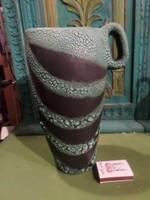 24 cm magas , fülénél 17 cm széles , retro váza B. J. jelzéssel .