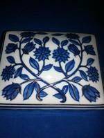 10x13cm  - es , porcelán doboz, gyönyörű kék mitával!