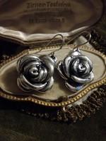 Ezüst nagy rózsa fülbevaló beakasztós zárral ag925
