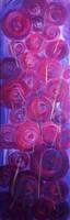 ÜNNEPI AJÁNLAT! GYÖNYÖRŰ FESTMÉNY Elegáns,modern Ezüst-bíbor-lila színek,Szignózott eredeti.