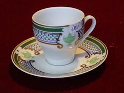 THUN antik, cseh kávéscsésze + alátét. Zöld/arany díszítéssel, vitrin minőség.