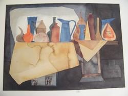 Lengyel művész(PAS Herbert Pasiecznyk) készítette aláírt nyomat, kép akvarell papíron