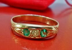 Nagyon szép antik arany gyűrű drágakövekkel,smaragd,brill