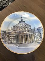 Régi Román kézzel festett porcelán dísztányér