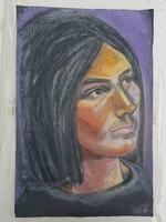 Pasztell festmény egy szép nőről