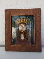Szent István király - tűzzománc falikép