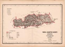 Torda - Aranyos megye közigazgatási térkép 1880, eredeti, vármegye, XIX. század, Hátsek Ignácz, régi