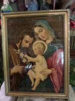 A szent családot ábrázoló , szép , régi nyomat . A keret 44 x 34 cm-es .