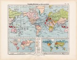 Világtérkép, Földképek 1906, magyar atlasz, térkép, eredeti, régi, magyar nyelvű, gyarmat, nép