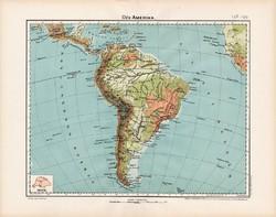 Dél - Amerika hegy- és vízrajzi térkép 1906, magyar atlasz, eredeti, régi, magyar nyelvű, Amazonas