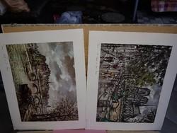 Két gyönyörű párizsi nyomat, vastag papíron
