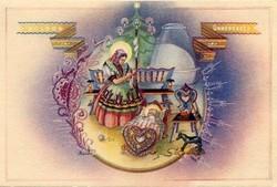 Magyar népi karácsonyi retro üdvözlőlap